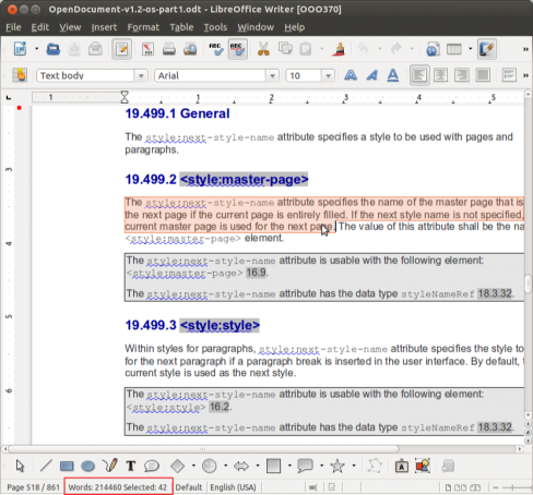 488px Sw word count highlight  LibreOffice 3.5.5 disponible, con mejoras en estabilidad y compatibilidad