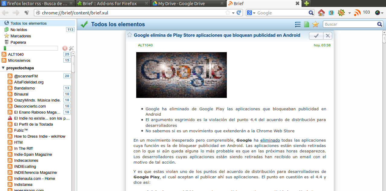 brief Google cierra Google Reader. Dont Panic! Salva tus feeds con Takeout!