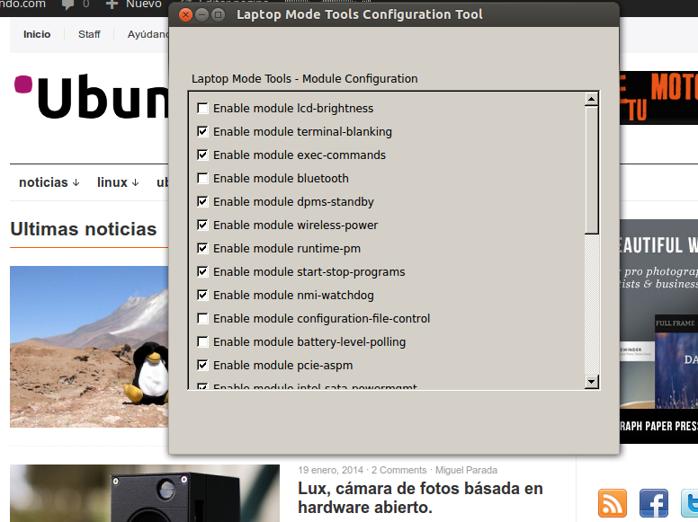 lm tools Instala Laptop Mode Tools 1.64 , ahora con interface de configuración.