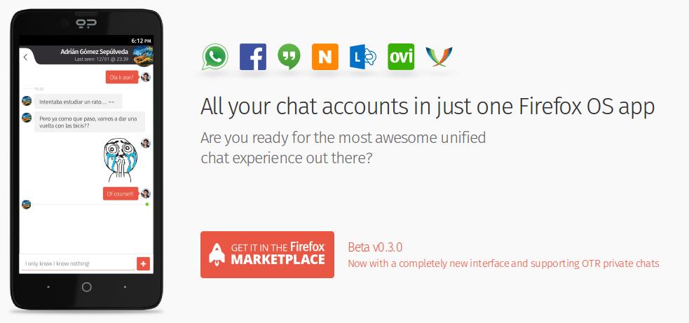 loqui Loqui IM, cliente de mensajeria con soporte Whatsapp para Firefox OS