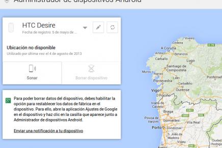 Activado Android Device Manager  ya podemos localizar y borrar nuestros datos en remoto