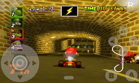 Mario Kart 64 corriendo sobre un emulador.
