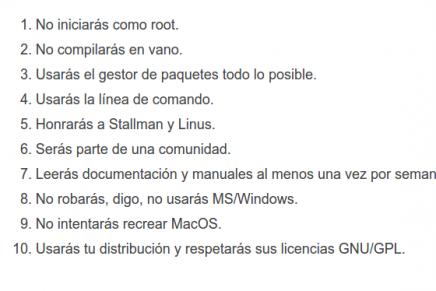 Los 10 mandamientos de los usuarios de Linux