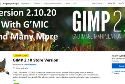 ¿Gimp de pago? Microsoft Store debería filtrar un poco mejor su catalogo de aplicaciones disponibles